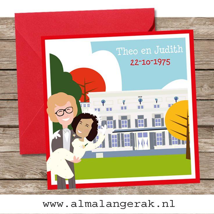 #uitnodigingen #trouwkaarten #robijnen #huwelijk #raadhuis #de #paauw #wassenaar #stadhuis #herfst #cartoon 40 jaar getrouwd #1975
