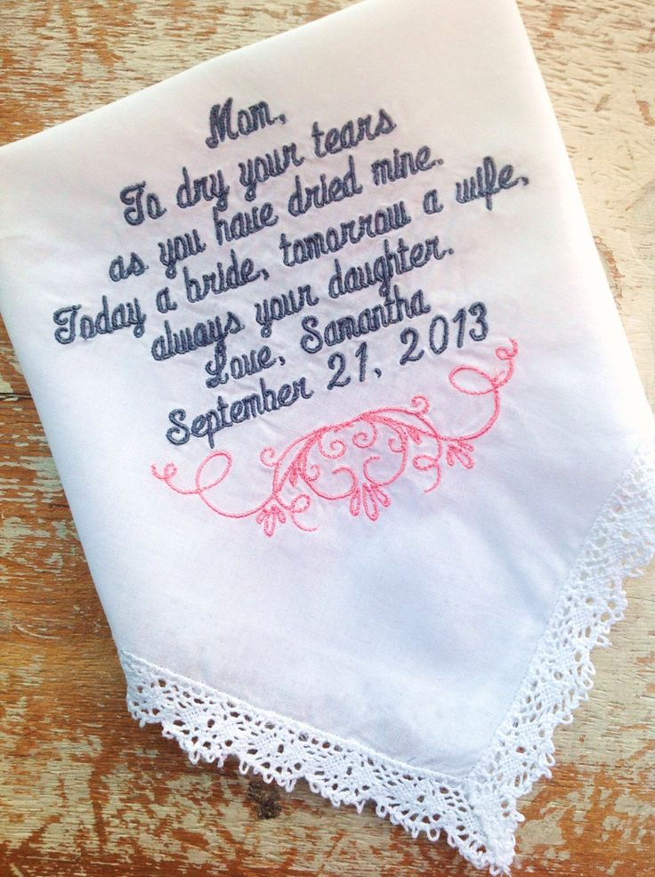 Embroidered Wedding Handkerchief Monogrammed Custom Personalized Mom Heirloom