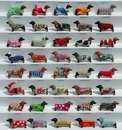 a collection of mini dachs. DE TECKELS EN HUN JASSEN