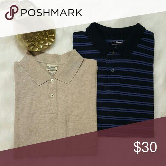 """🎉HP🎉Lot of Two Men's L.L.Bean Cotton Polo Shirts Tan Polo : Front Pocket - 27"""" Top to Bottom - 24"""" Armpit to Armpit   Blue Stripe Polo : 29"""" Top to Bottom - 23"""" Armpit to Armpit L.L. Bean Shirts Polos"""