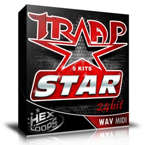 'Trap Star' pack featured 5 brand new trap style construction kits. This kits combine trap hip hop brasses, leads, synths, 808 specific drums in a very complex and versatile way and the final sound is exactly what you expect to heard from a trap beat.