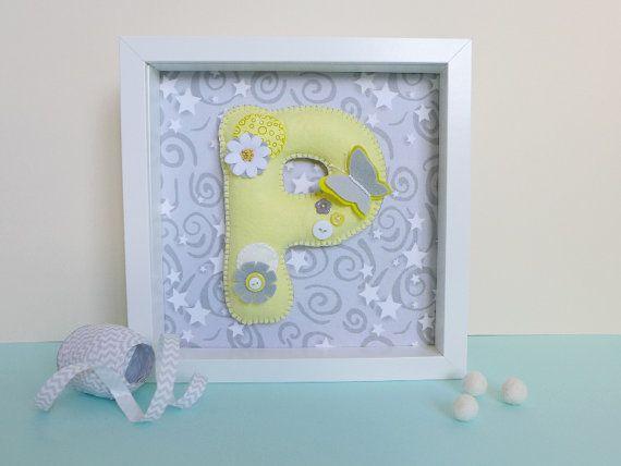 Wall letter art  butterfly nursery decor  framed by PresentsFelt