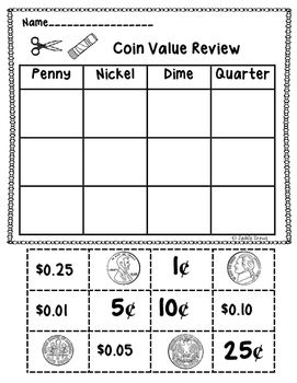 This 9 page set is a great review for the value of coins from penny to half-dollar values. It includes coin value sorts, counting coins, identifying coins, and a set of half pages with coin facts that could be used separately or made into little books.You get:1.