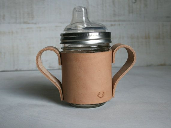 Leather Toddler Sippy Cup BPA Free Sippy Cup by GreyCricketStudios