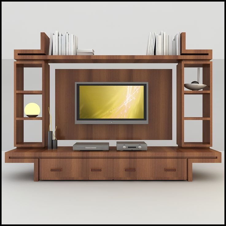 elegant wood tv wall unit with modern design in 3d on wall units id=37967