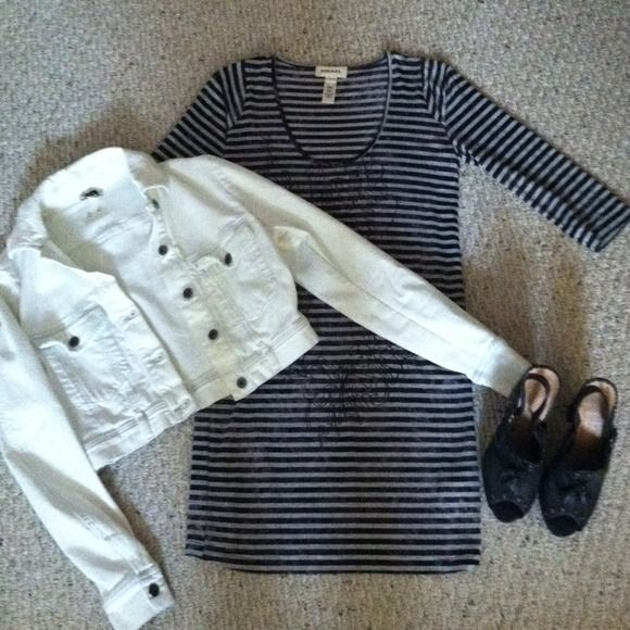 Diesel Striped Shift Dress Striped shift dress for sale, worn once, like-new condition...great with cropped denim jacket and clogs! Jacket and shoes are for sale in another listing. No trades. Will bundle. Diesel Dresses