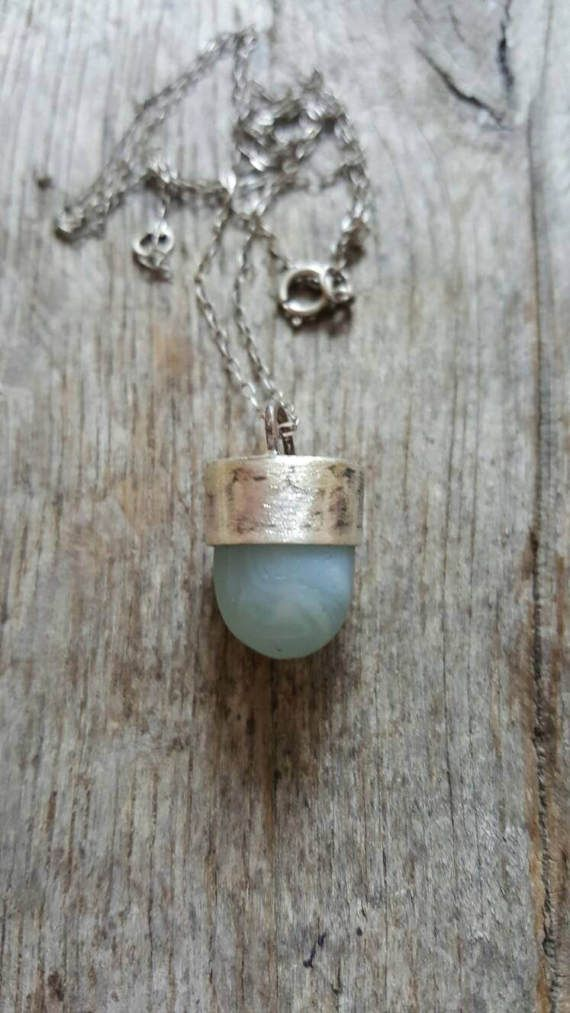 OOAK Memorial Seaglass ketting opalen seaglass uit