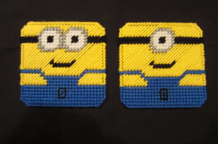 Minions Coasters From Despicable Me Made From Plastic Canvas by Robert