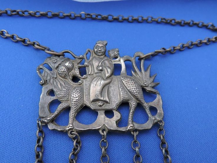 Authentic Qing Chinese Silver Necklace Amulet Kylin Rider Bells