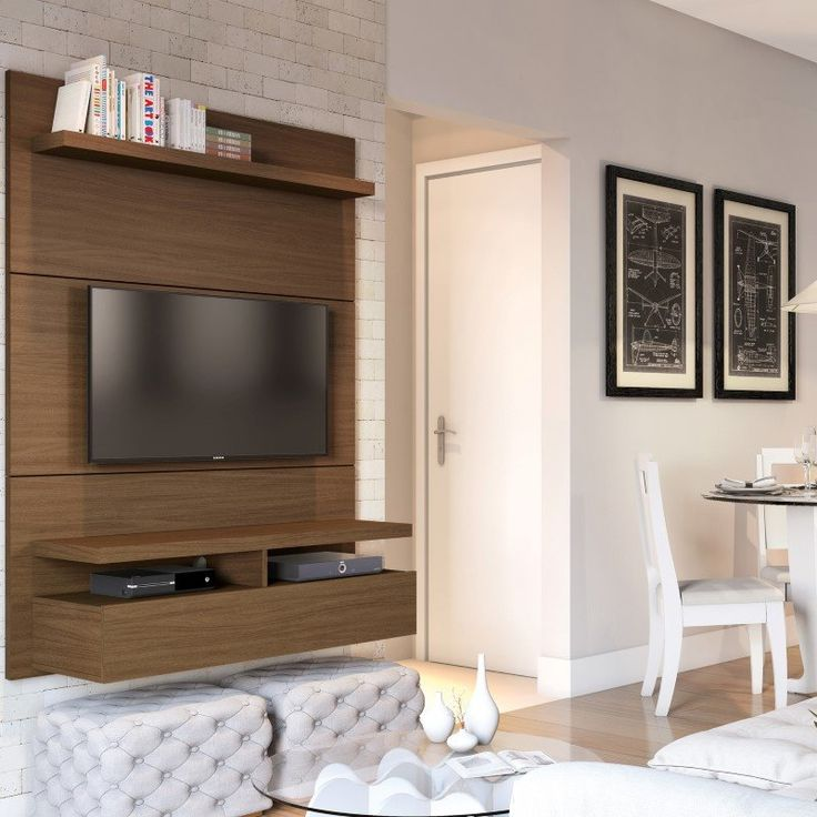 Manhattan Comfort City 1.2 Floating Wall Theater Entertainment Center in Nut Brown