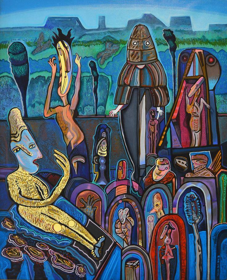 """Mario Murua (1958 -     ) – Desenvolveu um conceito de """"Canimagen"""" (Magia e Imagem) para as suas concepções.  """"Sem Título"""", de 1987 – Nesta obra está evidenciado o interesse do artista por imagens características da cultura Latino-Americana (Pré-Colombiana)."""