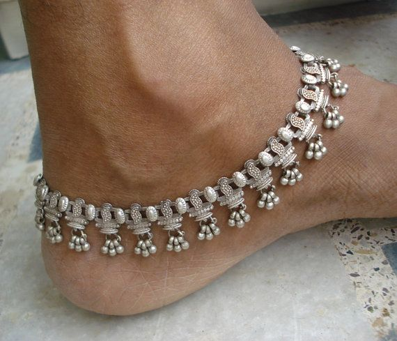 vintage antique tribal old silver jewelry anklet feet bracelet ankle chain