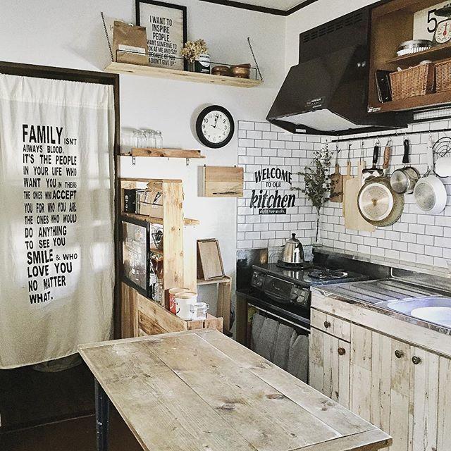 日除けだけじゃない 間仕切りや目隠しにも カーテン のれん実例集 Folk キッチンダイニングルーム リメイクシート キッチンアイデア
