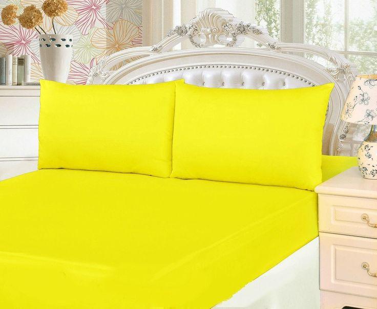 Tache 2-3 Piece Lemon Drop Yellow Bed Sheet Set (Fitted Sheet)