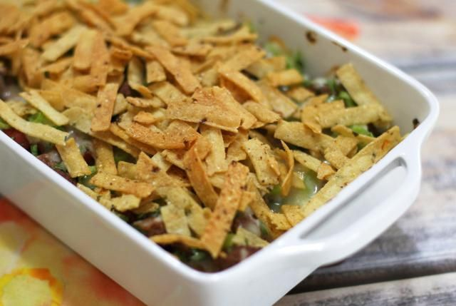 22 Family-Pleasing Ground Beef Casseroles: Ground Beef Taco Casserole with Cheesy Corn Chip Topping