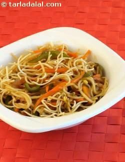 "A chinese ""bhel"" topped with fried noodles, a dish which never fails at parties. Be sure that the noodles are absolutely crisp."