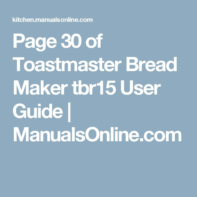 toastmaster bread machine tbr15 recipes
