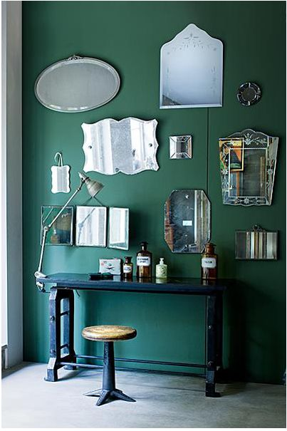 mirror wall- i kinda love this idea. I saw it in a cup cake shop as a hall of mirrors