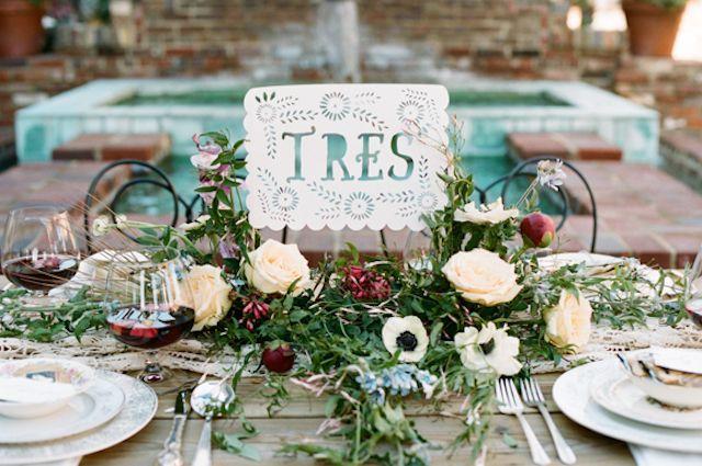 Spanish wedding table number   White Rabbit Studios   see more on: http://burnettsboards.com/2015/07/spanish-styled-shoot/
