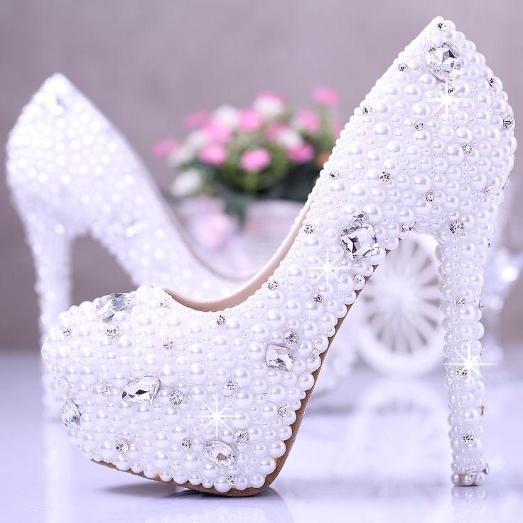 2014 fashion Ultra high heels platform shoes elegant pearl wedding shoes white women's shoes bridal shoes rhinestone shoes