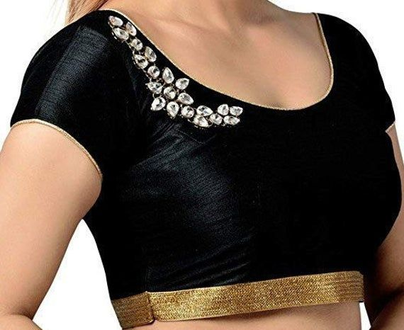 BLACK AND WHITE Cotton Readymade Blouse Stitched Wedding Christmas Party Wear Indianattire Crop Sari Top For Women