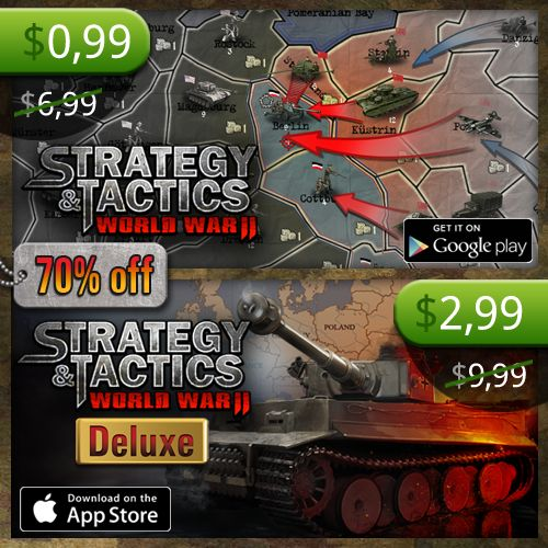 In honor of the great #VE #Day we're giving away #Strategy & #Tactics: #WWII Deluxe (iOS) and Strategy & Tactics: WWII (Android) 70% off! Google Play http://bit.ly/1FBTWnz App Store http://bit.ly/STDeluxeiOS