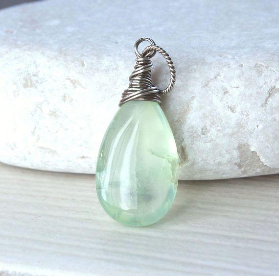 Prehnite Drop  Pendant    Oxidized Silver Spring Green Jewelry