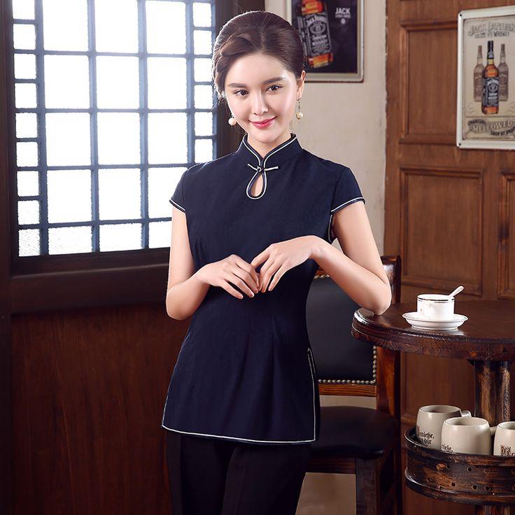 Adorable Dark Blue Cap Sleeve Qipao Cheongsam Shirt - Chinese Shirts & Blouses - Women