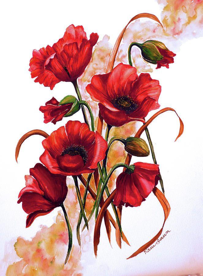 Цветы открытки нарисованные