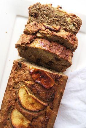 Volgens bijgaand recept, maar voegde aan het deeg 5 dadels en 1 tl vanille essence toe i.p.v. honing. Laagje deeg, laag appel en laagje deeg in een cakevorm en 45 min in de oven.