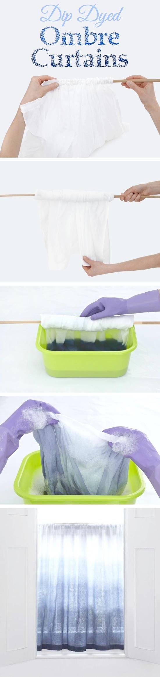 DIY Tutorial: DIY Ombre / DIY Dip Dyed Ombre Curtains - Bead&Cord