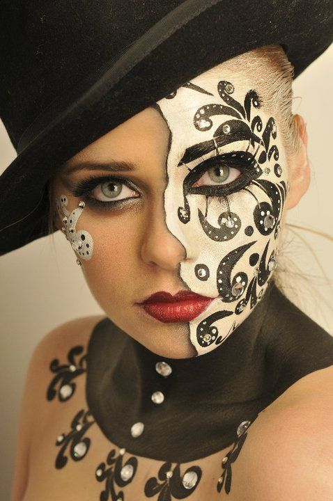 Mask Clown Face Paint black and white face paint jeweled - Makeup Mask Ideas