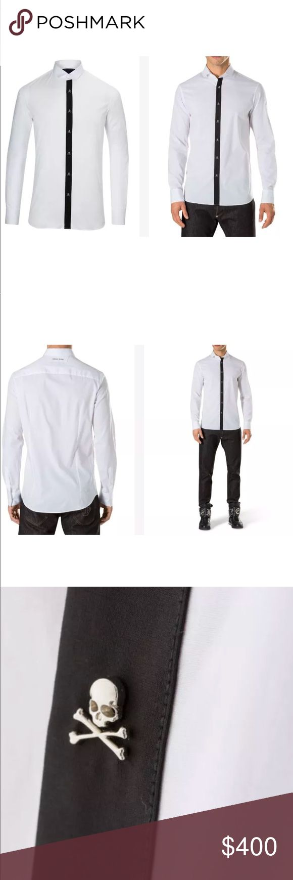 Philipp Plein DressShirt White Size M NEW WITH TAG Poplin stretch cotton shirt. Contrasted concealed placket decorated with little nickeled skulls. Removable collar stays. Nickel plated Philipp Plein written placed at the back yoke. Mother of pearl buttons. Back darts. Philipp Plein Shirts Dress Shirts