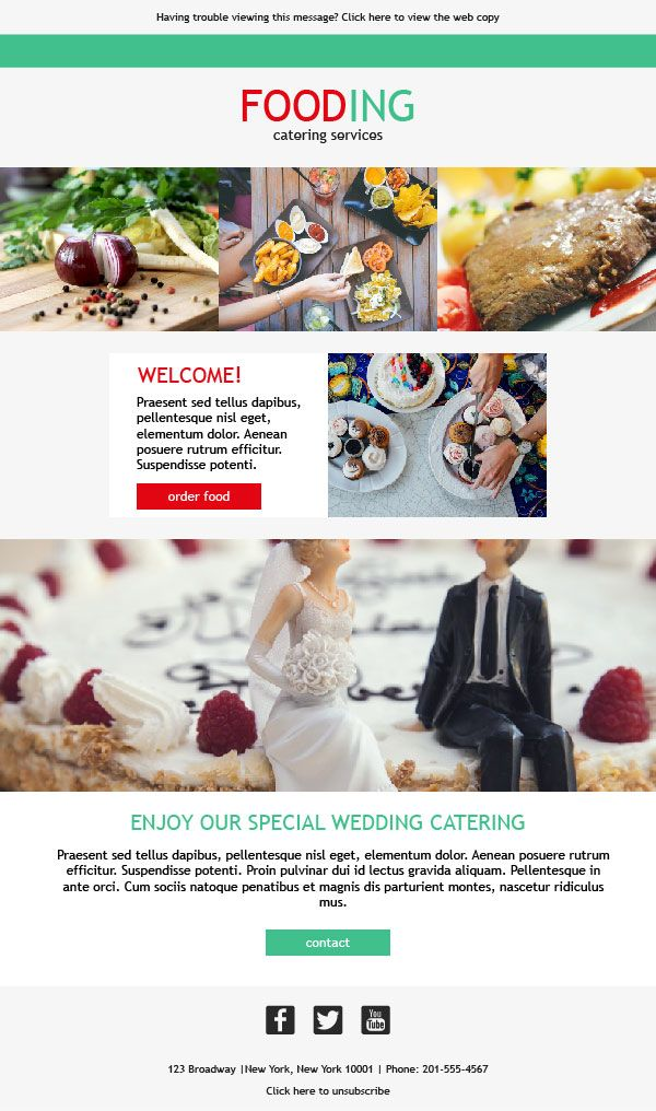10 best email templates for catering services images on for Catering email template