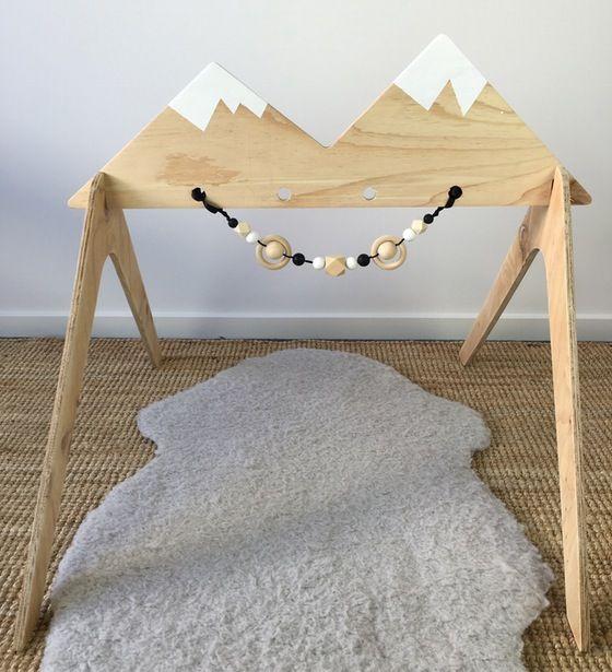 Image of Wooden Activity Gym - Snow Capped Mountain Range Scandi style nursery minimalist