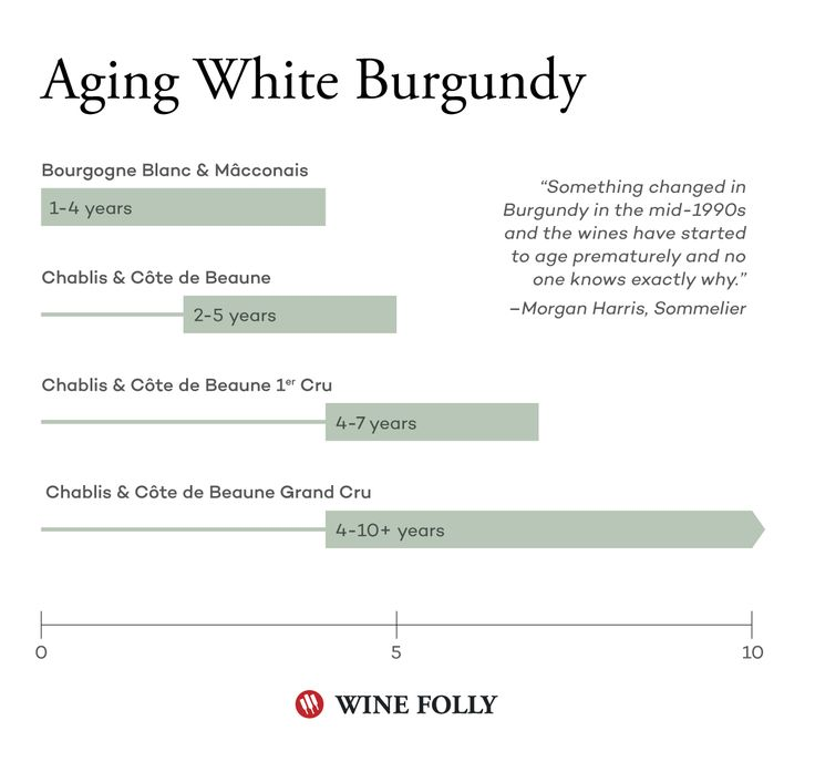 Aging White Burgundy Cellar Chart by Wine Folly