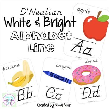 Looking to impress with a bright and modern alphabet line in your classroom? This D'Nealian alphabet line provides your students with clear lettter formation paired with bright & modern images. This document also provides you with an alphabet line that can be used to create a Bridge Map (Thinking Maps) display in your classroom.