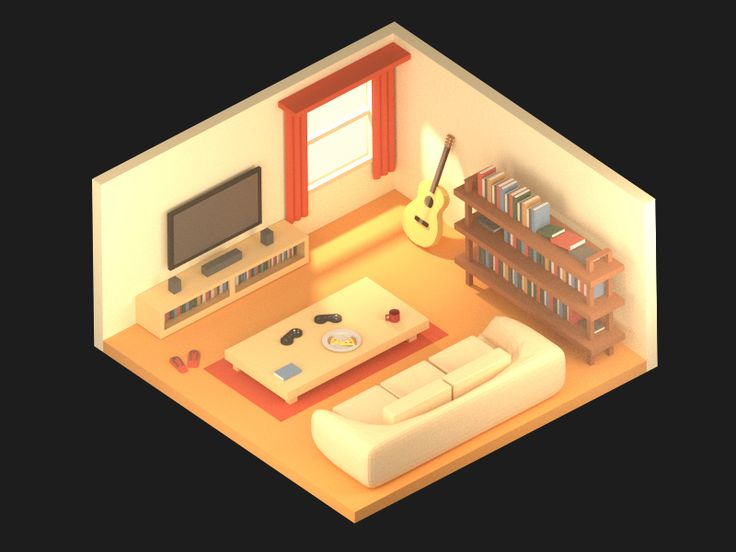 Isometric Living Room on Behance