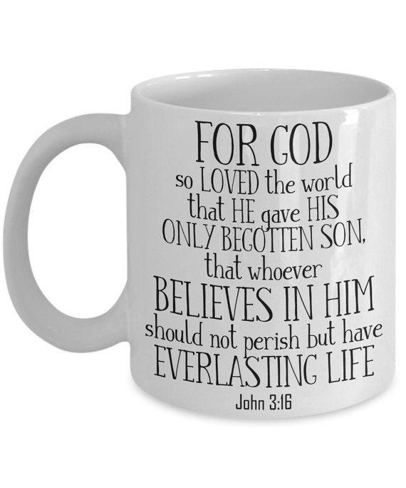 John 3:16 Coffee Mug | Tea Cup | Hot Chocolate | Christian Gift Idea | Double Sided Print | 11/15oz | Inspirational | Jesus/Bible/Love