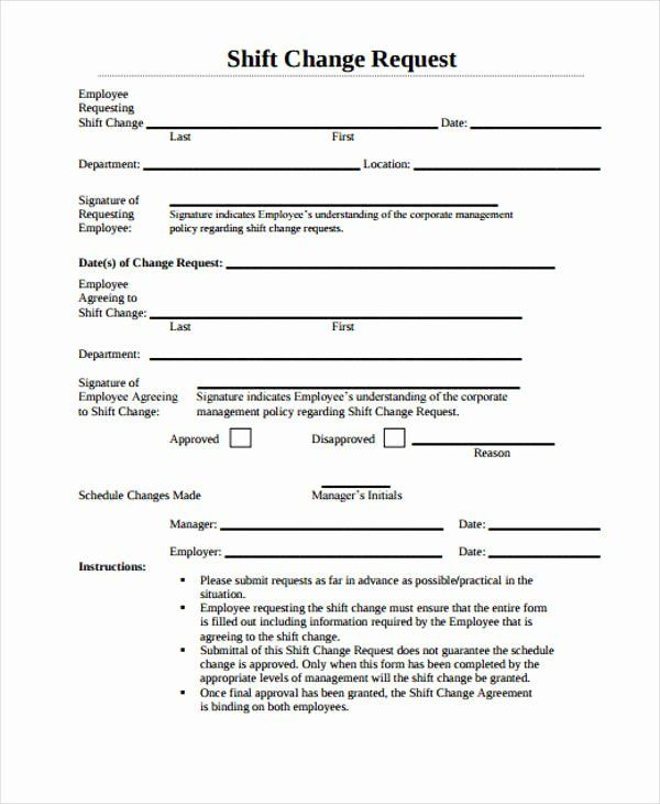 Sample Change Request Form Best Of Change Form Template In 2020