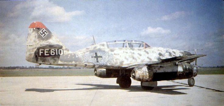 Messerschmitt Me 262B-1a/U1 - Night Fighter (werk nr. 110306) (FE-610) with Neptun Radar Antenna on the Nose and a Second Seat for the Radar Operator. This Airframe was Surrendered to the RAF at Schleswig in May 1945 and Taken to the UK for Testing.