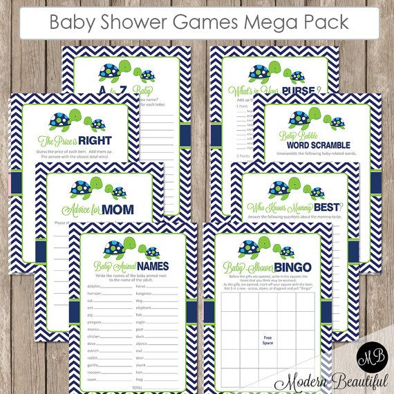Sea turtle Baby Shower Game Pack  Lime and Navy by ModernBeautiful