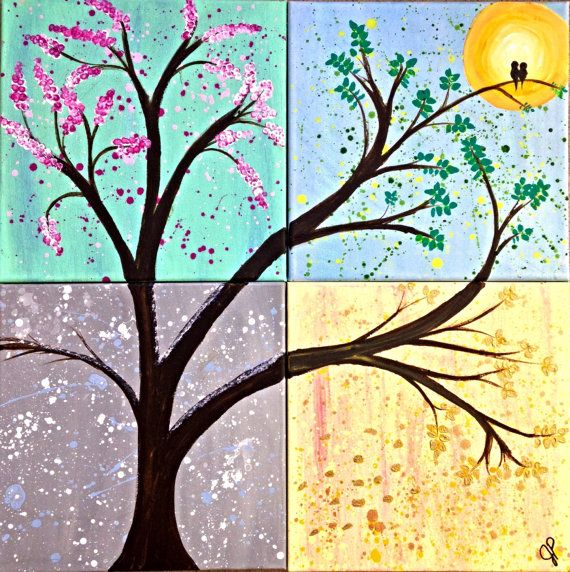 Four Seasons painting - 4 panel. Summer, Winter, Spring and Fall on 4 12 x 12 canvases. Iredescent and metallic paints make this stunning. on Etsy, $145.00