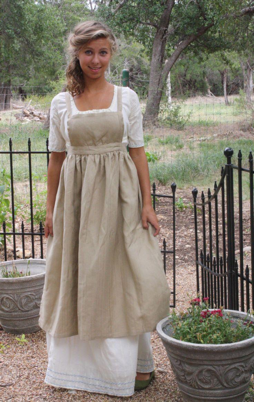 Regency schort Jane Austen linnen schort verstand door Studio28th