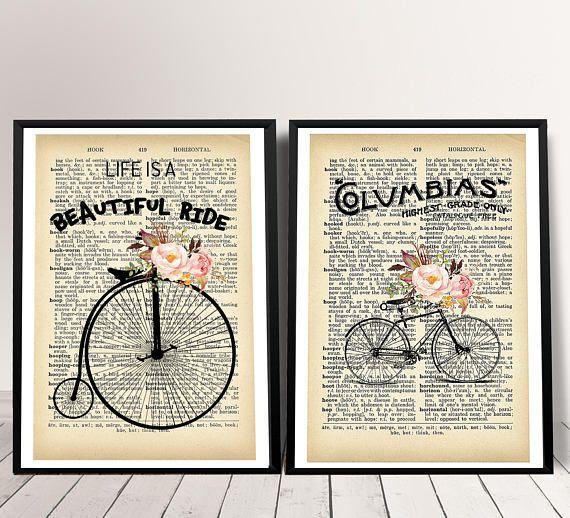 Shabby Chic Art Print Set Of 2 Dictionary Print Shabby Chic