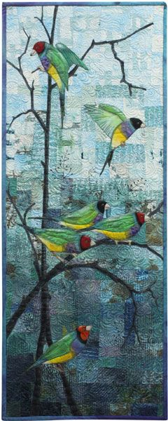 Living Colour! celebrating life across the spectrum. Six Gouldian Finches by Linden Lancaster