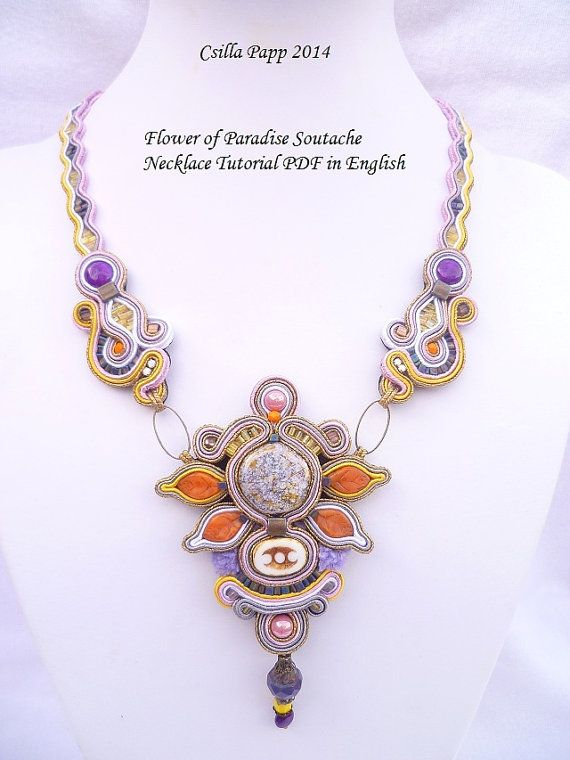 TUTORIAL ONLY Flower of Paradise Soutache Necklace by CsillaPapp, $20.00