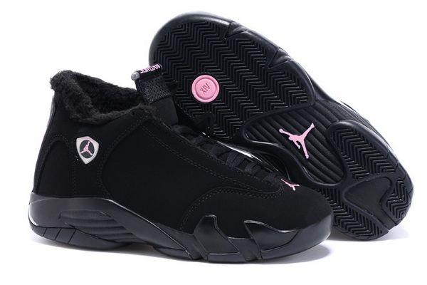 2018 的 Discount Air Jordan 14 Retro GS Black Vivid Pink Plus Velvet ... ebd07d94d3
