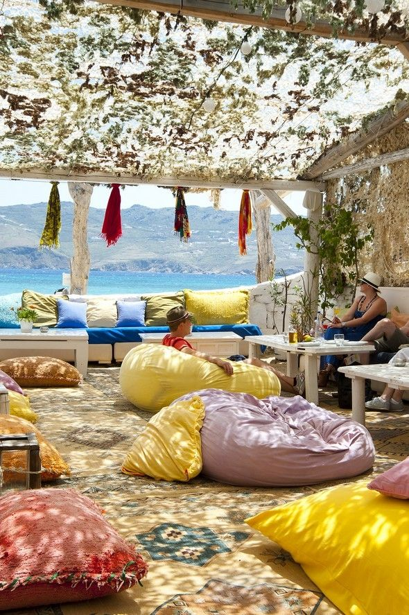 Panormos Beach Bar Mykonos, Greece. I'm heading to Greece at the beginning of May and can't wait to enjoy a cocktail in this casual outdoor lounge by the ocean!