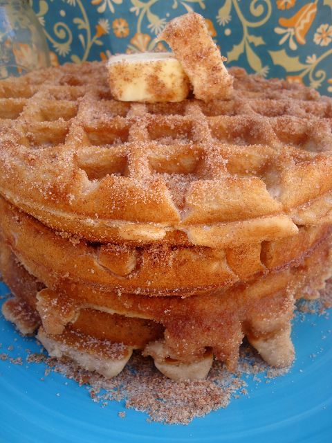 Churro Waffles. My husband LOVES churros. This will bring me one step closer to being the best wife ever.